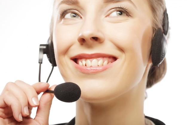 Zamyka w górę portreta kobiety obsługi klienta pracownik
