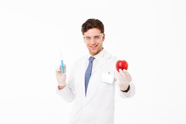 Zamyka w górę portreta szczęśliwa młoda samiec lekarka