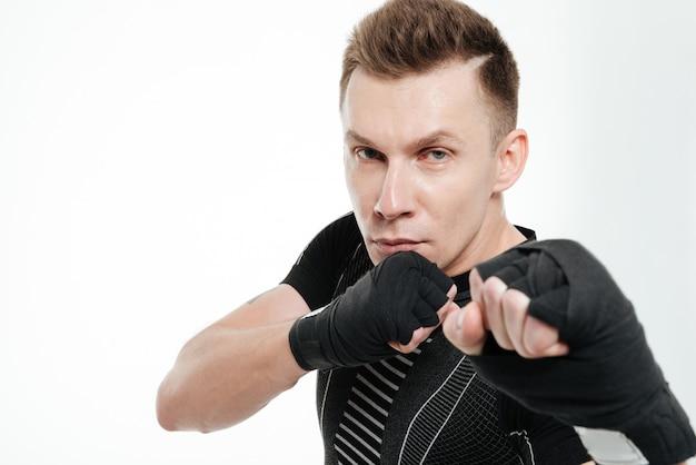 Zamyka w górę portreta zdrowy dysponowany sportowa boks