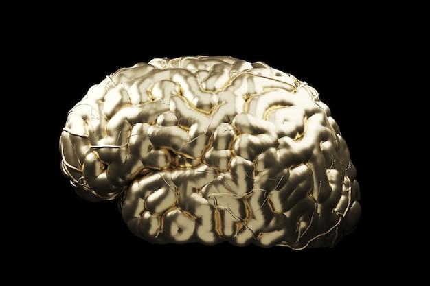 Zamyka w górę złotego mózg pojęcia. renderowanie 3d.