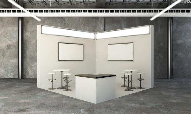 Zaokrąglone stoisko wystawowe renderowania 3d