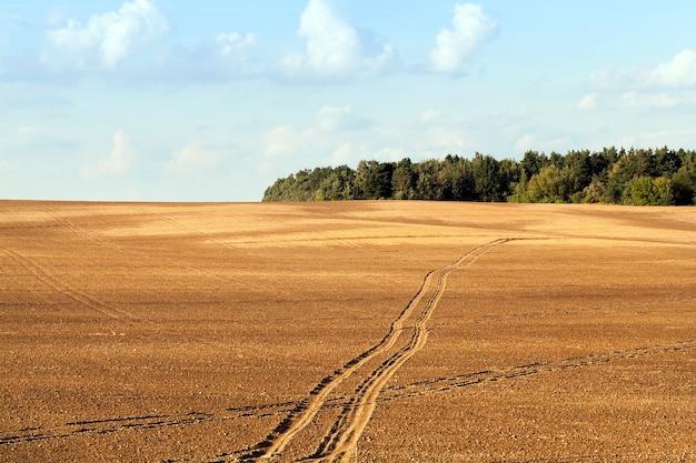 Zaorane pole, po którym przejechał transport i zostawił ślady, jesienny krajobraz