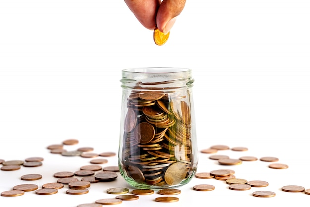 Zaoszczędź pieniądze i bankowość konta dla koncepcji biznesowej finansów
