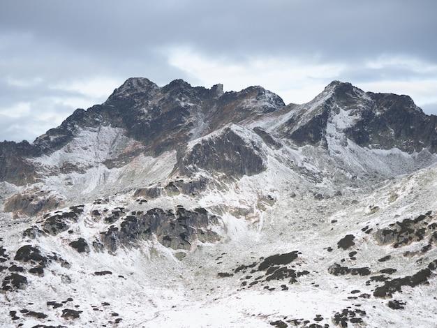 Zapierające dech w piersiach krajobrazy wysokich, pokrytych śniegiem tatr w polsce