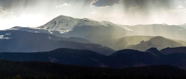 Zapierający dech w piersiach widok wspaniałych mglistych karpat, pokrytych zawsze zielonym lasem w mglisty spokojny poranek lub wieczór pod ciemnym pochmurnym niebem. góry pokryte śniegiem szczyty w oddali.