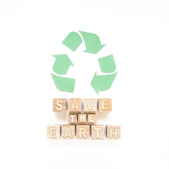Zapisz znak ziemi i znak recyklingu