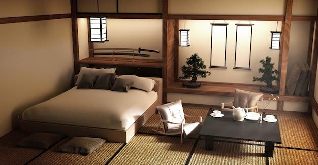 Zaprojektowany specjalnie w stylu japońskim łóżko i dekoracja w japońskim stylu. 3d renderi