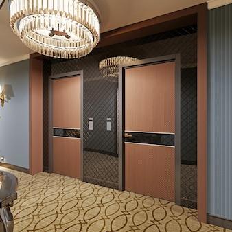 Zaprojektuj drewniane drzwi w korytarzu hotelu. renderowania 3d.