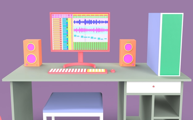 Zaprojektuj ładny zestaw ilustracji do nagrywania muzyki studyjnej ze stołem i aranżerem produkcji dźwięku