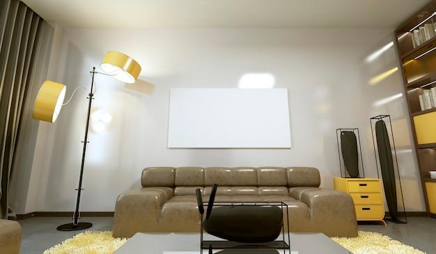 Zaprojektuj nowoczesny salon w szarej i żółtej kolorystyce. renderowania 3d.