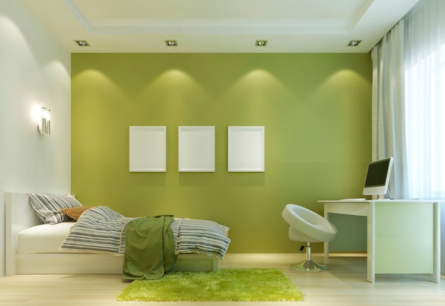 Zaprojektuj pokój dziecięcy we współczesnym stylu, z łóżkiem i biurkiem. ściany w kolorze jasnozielonym, a wszystkie meble w kolorze białym. na ścianie makieta plakatu. renderowania 3d.