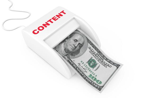 Zarabiaj pieniądze dzięki koncepcji kreatywnych treści. maszyna do tworzenia pieniędzy z banknotów dolarów na białym tle. renderowanie 3d