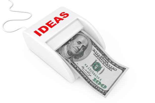 Zarabiaj pieniądze dzięki koncepcji pomysłów. maszyna pomysłów money maker z banknotów dolarów na białym tle. renderowanie 3d