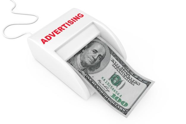 Zarabiaj pieniądze dzięki koncepcji reklamy. maszyna reklamowa money maker z banknotów dolarów na białym tle. renderowanie 3d