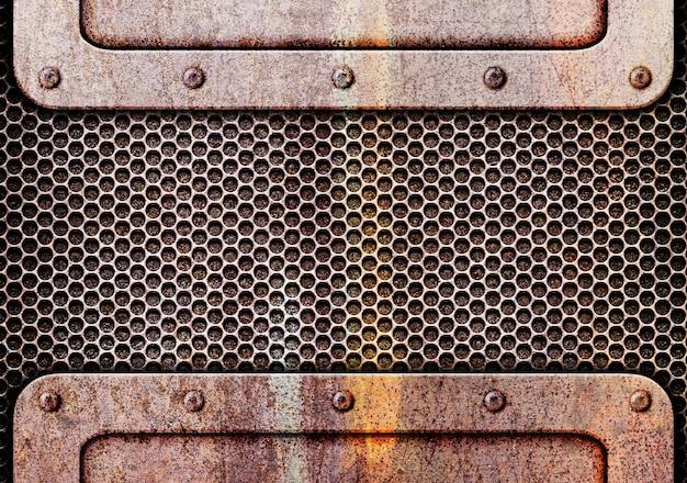 Zardzewiały metal z siatką tekstury tła żelaza, 3d, ilustracja