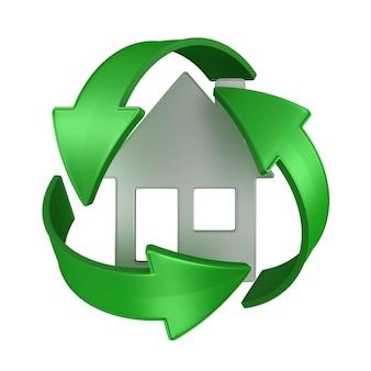 Zarejestruj Z Recyklingu I Dom Na Białym Tle. Ilustracja Na Białym Tle 3d Premium Zdjęcia