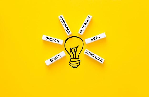 Żarówka i drewniane klocki z innowacyjnymi podstawowymi ogniwami. inspiracja i innowacja pomysłów biznesowych.