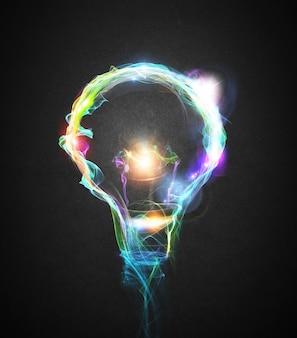 Żarówka narysowana z kolorowymi efektami świetlnymi