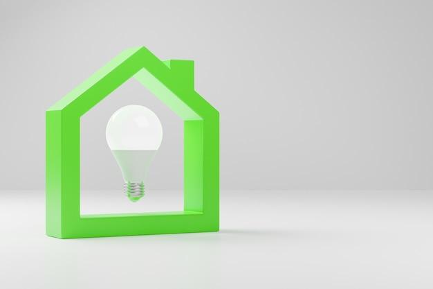 Żarówka renderująca 3d wewnątrz sylwetki zielonego domu na białym tle