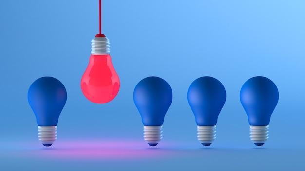 Żarówka w innym kolorze pokazuje nowy pomysł na biznes marketingowy, renderowanie 3d