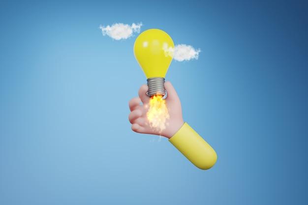 Żarówka w ręku. kreatywny pomysł i koncepcja innowacji, ilustracja 3d
