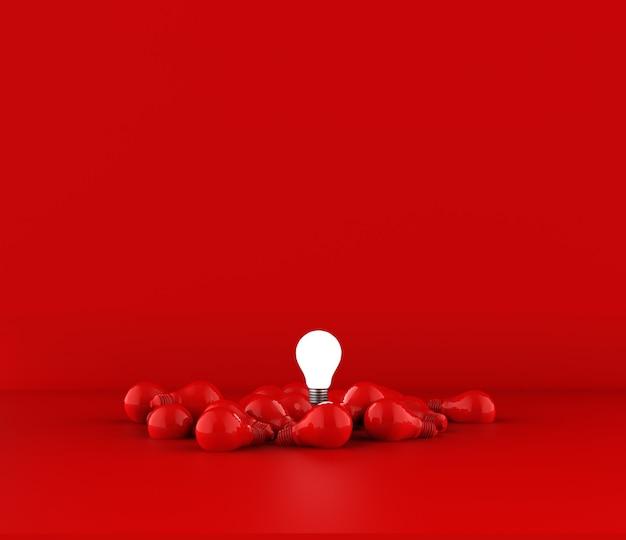 Żarówki na czerwonym tle. koncepcja pomysłu. ilustracja 3d.