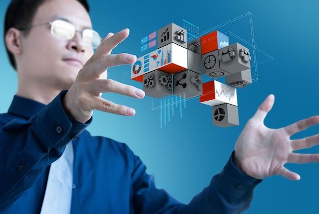 Zarządzanie kontrolą biznesmen 3d ikona biznesu dla danych badawczych