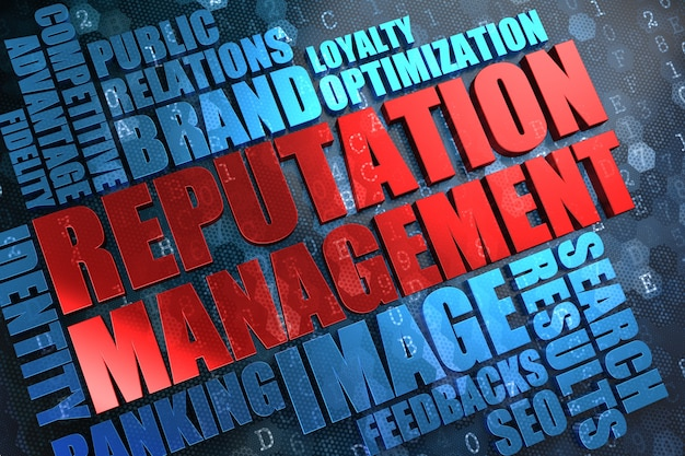 Zarządzanie reputacją - czerwony główny wyraz z niebieskim wordcloud na cyfrowym tle.