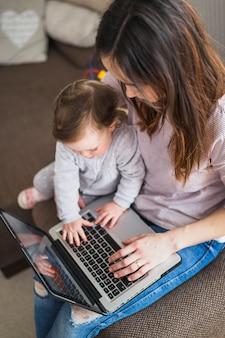 Zasięrzutny widok macierzysty obsiadanie z jej dzieckiem używa laptop