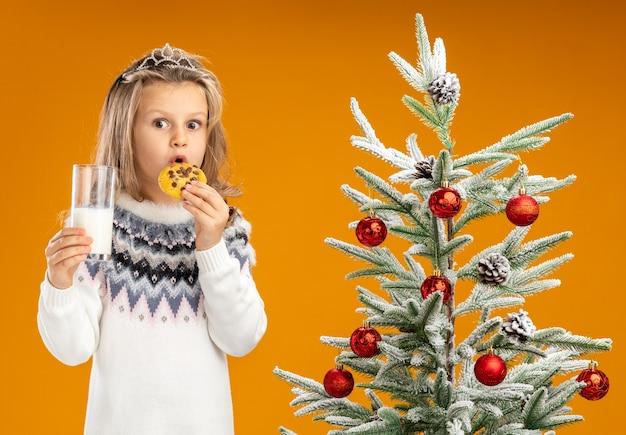 Zaskoczona dziewczynka stojąca w pobliżu choinki ubrana w tiarę z girlandą na szyi trzyma szklankę mleka próbując ciasteczek na białym tle na pomarańczowym tle