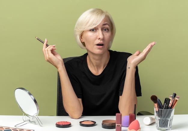 Zaskoczona młoda piękna dziewczyna siedzi przy stole z narzędziami do makijażu, trzymając eyeliner na oliwkowym zielonym tle