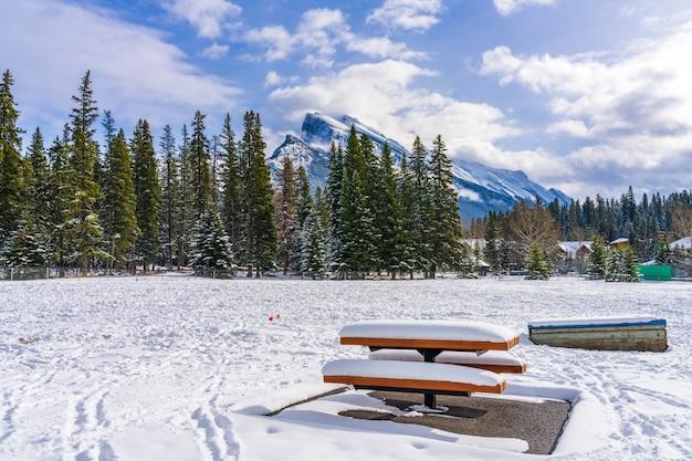 Zaśnieżona drewniana ławka w banff recreation grounds w zimie park narodowy banff canadian rockies