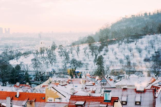 Zaśnieżone miasto w zimie