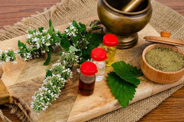 Zastosowanie ziół w medycynie ludowej, butelki nalewek.