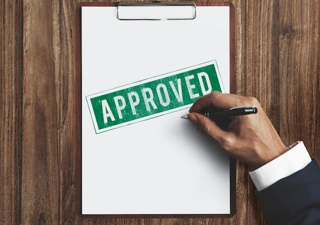Zatwierdzona umowa autoryzowana koncepcja znaku stempla