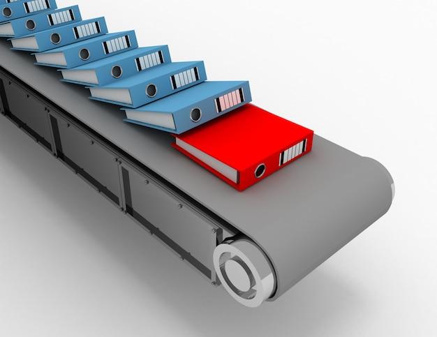 Zautomatyzuj system zarządzania dokumentami i koncepcję procesu przepływu pracy w biurze. ilustracja 3d