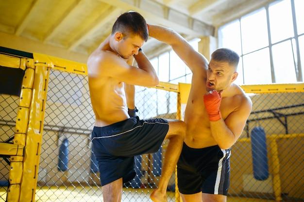 Zawodnik mma w klatce na siłowni wykonuje potężny cios w głowę przeciwnika.