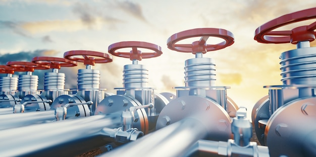 Zawory rurociągu naftowego lub gazowego. wydobycie ropy i gazu, produkcja i transport przemysłowy. ilustracja renderowania 3d