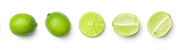 Zbiór limonki na białym tle
