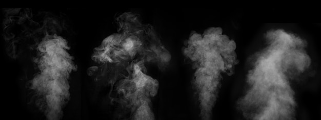 Zbiór różnych mgły lub dymu na czarnej ścianie