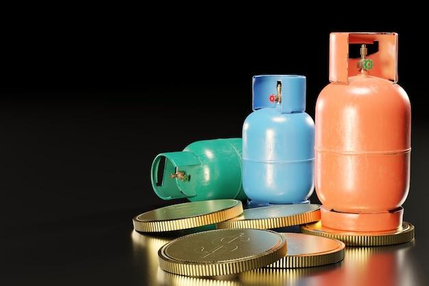 Zbiornik na gaz lpg lub propan w kształcie cylindra umieszczony na stosie złotych monet. pojęcie kosztów użytkowania gazu do gotowania i pojęcie dochodu firmy gazowniczej. renderowanie ilustracji 3d