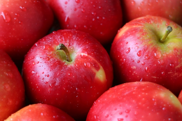 Zbliżenia rozsypisko dojrzali czerwoni jabłka z wodnymi kropelkami
