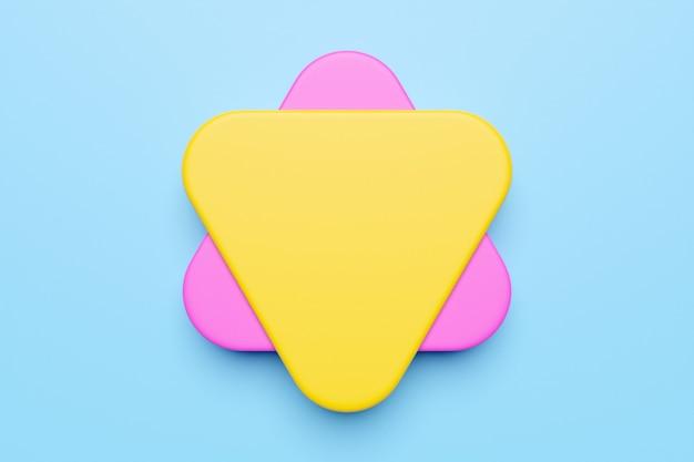 Zbliżenie 3d żółty i różowy ilustracja. różne kształty geometryczne: zaokrąglone trójkąty na niebieskim tle izolowane proste kształty geometryczne