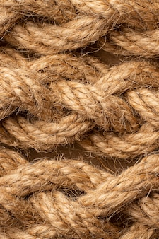 Zbliżenie asortymentu tekstur liny z widokiem z góry