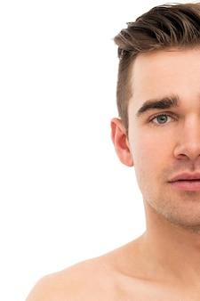 Zbliżenie. atrakcyjny, przystojny mężczyzna
