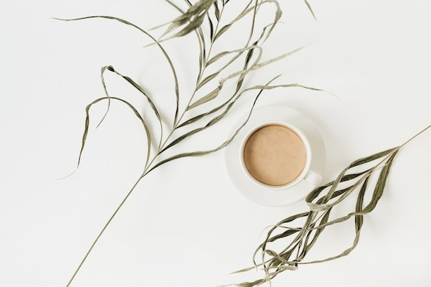 Zbliżenie ciągnąca się zielona roślina i filiżanka kawy na białej powierzchni