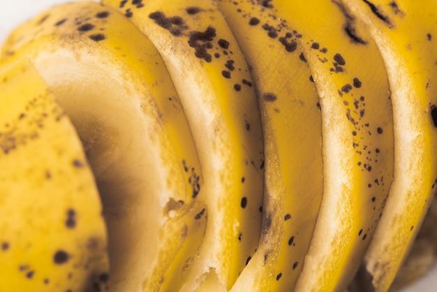 Zbliżenie cięte plastry banana