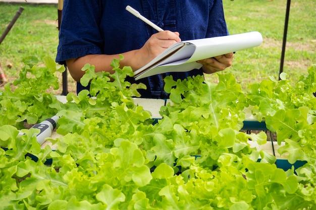 Zbliżenie danych rolnika rekord danych hydroponicznych roślin. modne rolnictwo bez gleby.