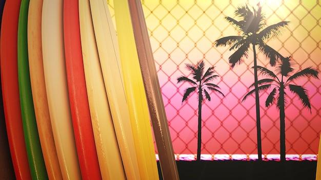 Zbliżenie deski surfingowe i tropikalne liście, lato tło. elegancka i luksusowa ilustracja 3d w stylu retro z lat 80. i 90.