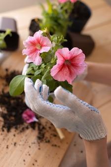Zbliżenie dłoni w rękawiczce g